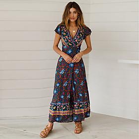 Women's A-Line Dress Maxi long Dress - Short Sleeve Print Patchwork Print Summer V Neck Casual Slim 2020 Blue Light Blue S M L XL