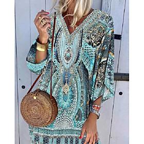 Women's Shift Dress Knee Length Dress - 3/4 Length Sleeve Tribal Print Summer V Neck Hot Boho Holiday Beach vacation dresses 2020 Blue S M L XL XXL 3XL