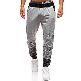 Men's Basic Daily Going out Sweatpants Pants Print Drawstring Light gray Dark Gray S M L