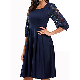 Women's A-Line Dress Knee Length Dress - 3/4 Length Sleeve Solid Color Lace Patchwork Fall Square Neck Sexy Party Puff Sleeve Slim 2020 Black Wine Navy Blue S