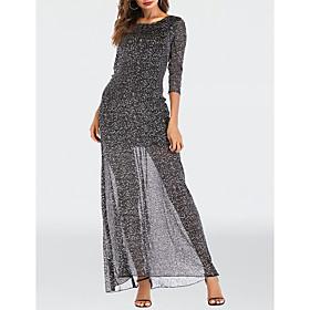 Women's A-Line Dress Maxi long Dress - 3/4 Length Sleeve Solid Color Mesh Patchwork Summer Sexy Party Club 2020 Black S M L XL XXL