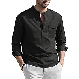 Men's Vacation Solid Color Short Sleeve Tops Linen Round Neck Light Blue Wine Red White