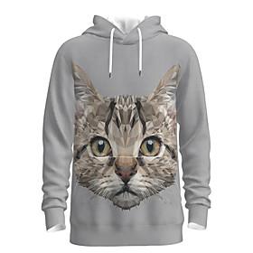 Men's Weekend Pullover Hoodie Sweatshirt Cat Graphic Hooded Casual Hoodies Sweatshirts  Long Sleeve White
