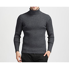 Men's Basic Knitted Solid Color Pullover Rabbit Fur Long Sleeve Sweater Cardigans Turtleneck Fall Winter Black Blue Purple