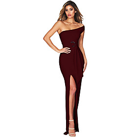 Women's A-Line Dress Maxi long Dress - Sleeveless Solid Color Patchwork Zipper Fall One Shoulder Elegant Party Slim 2020 Red L