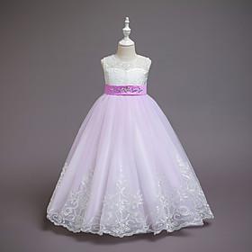 Kids Girls' Active Sweet Jacquard Mesh Sleeveless Asymmetrical Dress Blue