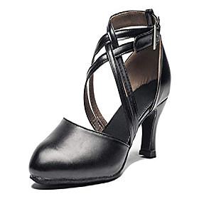 women cross strap latin ballroom black character dance shoes ladies modern tango salsa party dress pump amp;amp; #40;5.5, blackamp;amp; #41;