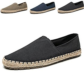 men's casual cloth shoes canvas slip-on loafers outdoor leisure walking z-grey 10 m us