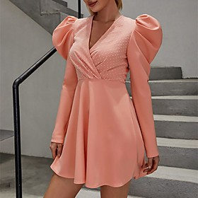 Women's A-Line Dress Short Mini Dress - Long Sleeve Solid Color Zipper Summer Fall V Neck Elegant Sexy Going out Puff Sleeve Skinny 2020 Orange S M L