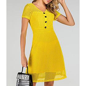 Women's A-Line Dress Knee Length Dress - Short Sleeve Solid Color Summer Casual 2020 Yellow S M L XL XXL