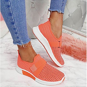 Women's Trainers / Athletic Shoes Flat Heel Round Toe Sporty Daily Rhinestone Solid Colored Tissage Volant Walking Shoes Black / Yellow / Orange