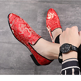 Men's Loafers  Slip-Ons Casual Daily Denim Wear Proof Black / Red Fall / Winter