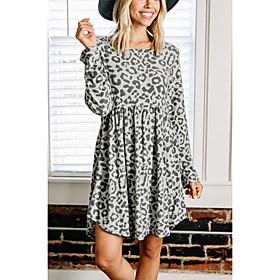 Women's A-Line Dress Short Mini Dress - Long Sleeve Leopard Ruffle Fall Casual Slim 2020 Brown Gray S M L XL XXL 3XL