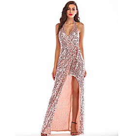 Women's A-Line Dress Maxi long Dress - Sleeveless Solid Color Backless Sequins Split Summer Halter Neck Sexy Party Club 2020 Gold S M L XL