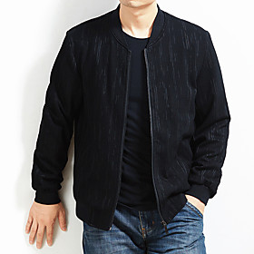 Men's Jacket Regular Solid Colored Daily Basic Long Sleeve Black US34 / UK34 / EU42 US36 / UK36 / EU44 US38 / UK38 / EU46