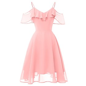 Women's A-Line Dress Knee Length Dress - Sleeveless Solid Color Mesh Summer Sexy Party Slim 2020 Blushing Pink Navy Blue S M L XL XXL
