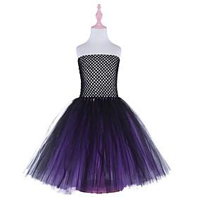 Kids Girls' Basic Color Block Halloween Layered Patchwork Sleeveless Above Knee Dress Purple