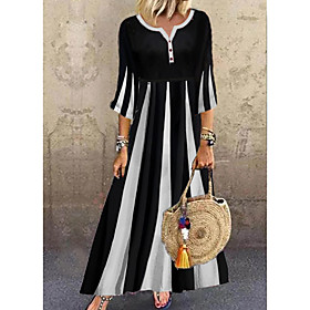 Women's A-Line Dress Maxi long Dress - 3/4 Length Sleeve Black  White Color Block Summer V Neck Casual Hot vacation dresses Flare Cuff Sleeve 2020 Black M L XL