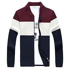 Men's Color Block Cardigan Long Sleeve Sweater Cardigans V Neck Wine Navy Blue Gray