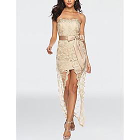 Women's A-Line Dress Maxi long Dress - Sleeveless Print Lace Layered Mesh Summer Strapless Sexy Party Club Slim 2020 Black Gold S M L XL XXL