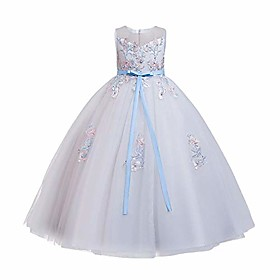 Flower girl kid princess bow a-line floor length birthday dance evening ball gown white blue 3-4 years