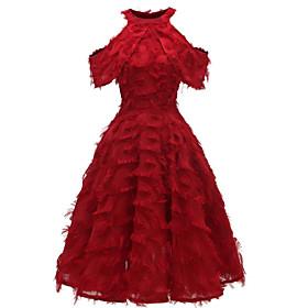 Women's A-Line Dress Maxi long Dress - Sleeveless Solid Color Tassel Fringe Fall Winter Elegant Party 2020 White Blushing Pink Wine S M L XL XXL