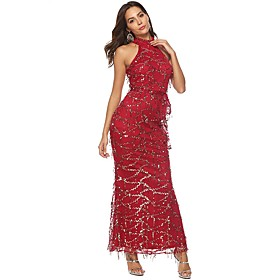 Women's A-Line Dress Maxi long Dress - Sleeveless Solid Color Backless Sequins Summer Sexy Party Going out Slim 2020 Wine S M L XL XXL