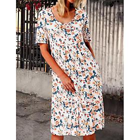 Women's Swing Dress Midi Dress - Short Sleeve Floral Pocket Print Summer Casual Mumu Loose 2020 White S M L XL XXL
