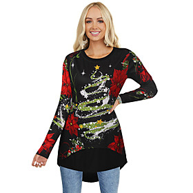 Women's Christmas Tunic Floral Flower Long Sleeve Print Asymmetric Round Neck Tops Basic Christmas Basic Top Black