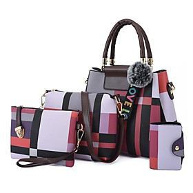 Women's Bags PU Leather Bag Set 4 Pieces Purse Set Zipper for Daily / Holiday Blue / Red / Green / Light Gray / Bag Sets