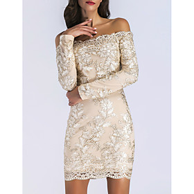 Women's A-Line Dress Short Mini Dress - Long Sleeve Floral Embroidered Fall Off Shoulder Sexy Party Club Slim 2020 Gold S M L XL