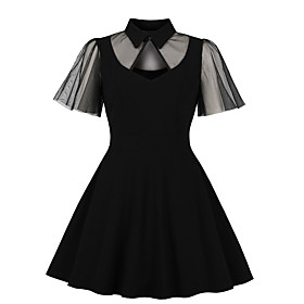 Women's Swing Dress Knee Length Dress - Short Sleeve Print Lace Zipper Print Fall Vintage Slim 2020 Black XL XXL 3XL 4XL