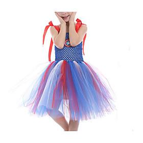 Kids Girls' Basic Color Block Halloween Patchwork Sleeveless Above Knee Dress Rainbow