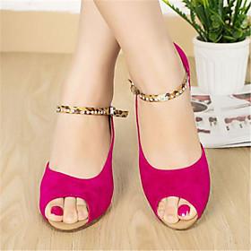 Women's Dance Shoes Latin Shoes / Ballroom Shoes / Line Dance Heel Leopard / Sparkling Glitter / Buckle Flared Heel Fuchsia / Blue / Performance