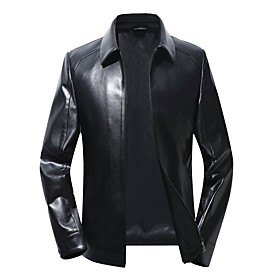 Men's Jacket Regular Solid Colored Daily Basic Long Sleeve Faux Leather Black Dark Gray Brown M L XL / Work