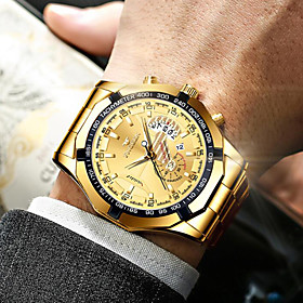 Men's Steel Band Watches Quartz Formal Style Vintage Style Classic Water Resistant / Waterproof Analog Black Blue Gold / Stainless Steel / Stainless Steel / Ca