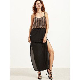 Women's A-Line Dress Maxi long Dress - Sleeveless Solid Color Backless Sequins Embroidered Summer V Neck Sexy Party Club 2020 Black S M L XL