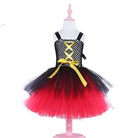 Kids Girls' Basic Color Block Halloween Patchwork Sleeveless Above Knee Dress Black