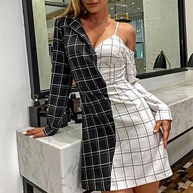 Women's A-Line Dress Short Mini Dress - Long Sleeve Check Patchwork Summer Fall Shirt Collar Formal Elegant Going out 2020 White S M L