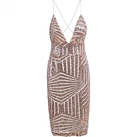 Women's A-Line Dress Short Mini Dress - Sleeveless Solid Color Backless Sequins Summer V Neck Sexy Party Club 2020 Gold S M L