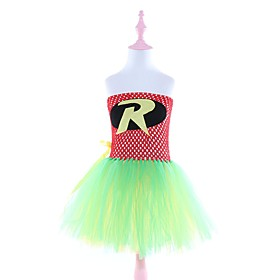 Kids Girls' Basic Color Block Halloween Layered Patchwork Sleeveless Above Knee Dress Red