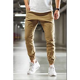 Men's Basic Slim Jogger Pants Solid Colored Sports Spring Fall Khaki US32 / UK32 / EU40 US34 / UK34 / EU42 US36 / UK36 / EU44 / Drawstring
