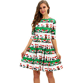 Women's A-Line Dress Knee Length Dress - 3/4 Length Sleeve Animal Print Fall Casual Going out Slim 2020 White Red Green S M L XL