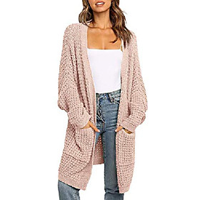 womens batwing sleeve long cardigans cable knit open front sweater coat with pocket nude xxl