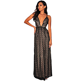 Women's A-Line Dress Maxi long Dress - Sleeveless Solid Color Backless Patchwork Winter V Neck Sexy Party Slim 2020 Black Blushing Pink S M L XL