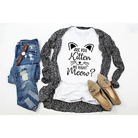 Women's T-shirt Graphic Prints Letter Print Round Neck Tops Slim 100% Cotton Basic Basic Top White Black Light gray