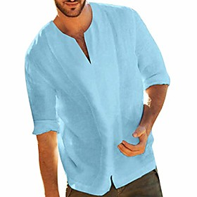 Men's Vacation Shirt Solid Color Classic Style Short Sleeve Tops Light Blue White Black / Fall