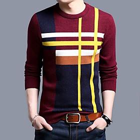 Men's Color Block Pullover Long Sleeve Sweater Cardigans Crew Neck Wine Camel Navy Blue