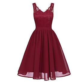 Women's A-Line Dress Knee Length Dress - Sleeveless Solid Color Lace Backless Patchwork Summer V Neck Plus Size Work Slim 2020 Black Purple Blushing Pink Wine