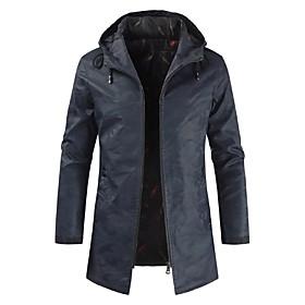 Men's Hooded Trench Coat Regular Solid Colored Daily Basic Long Sleeve Blue Army Green US32 / UK32 / EU40 US34 / UK34 / EU42 US36 / UK36 / EU44